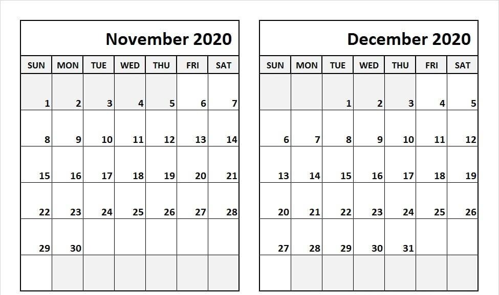 Blank Calendar November December 2020