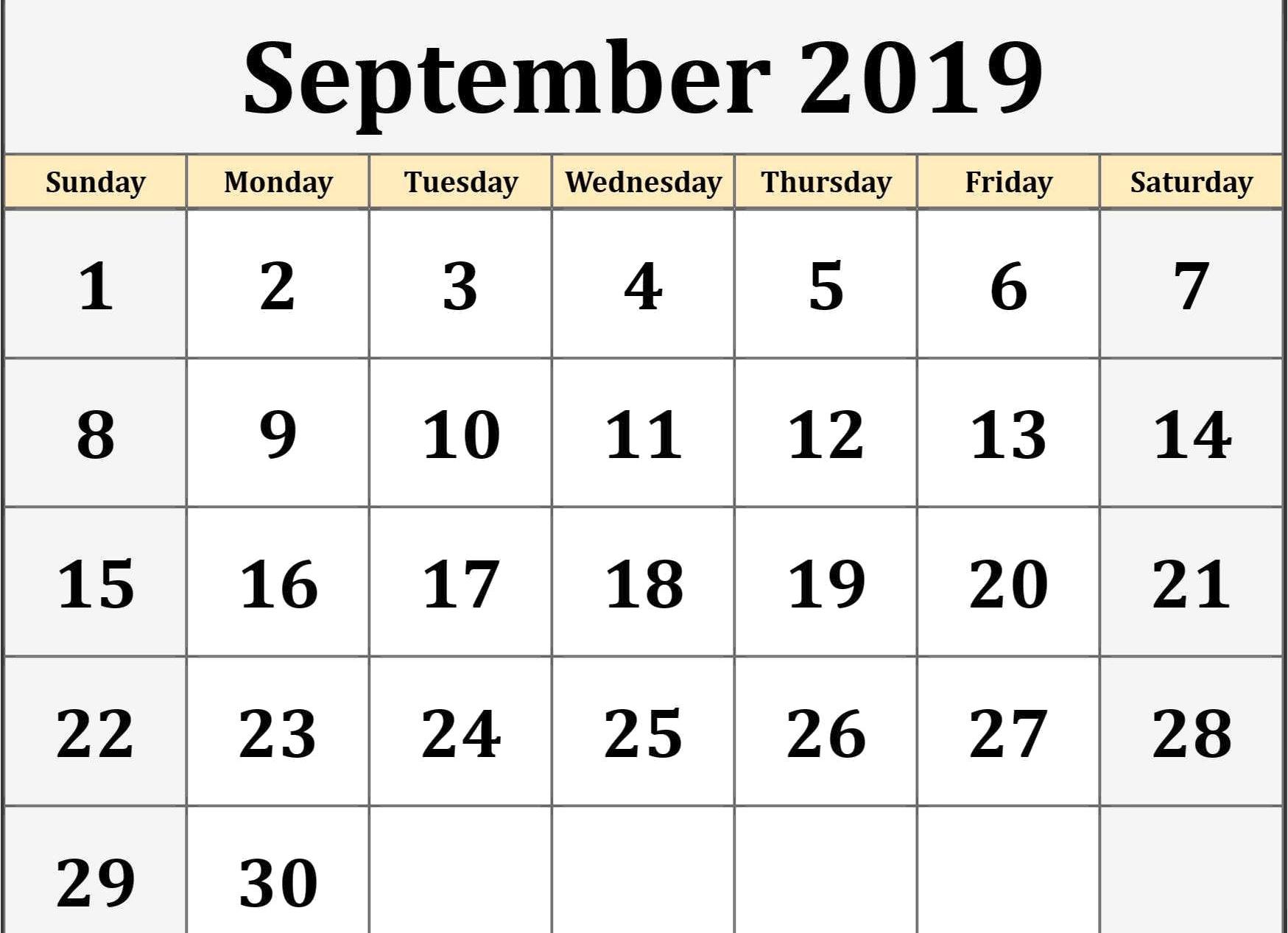 Blank Calendar for September 2019