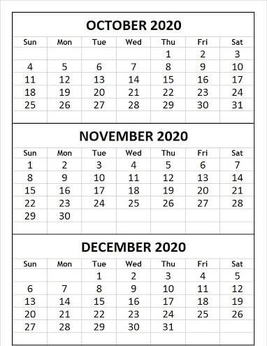 Blank October November December 2020 Calendar