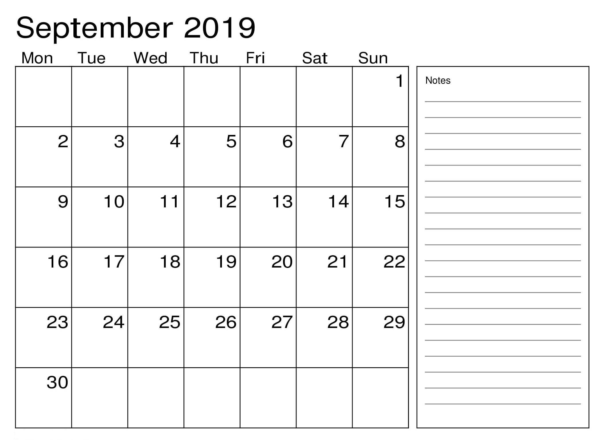 Blank September 2019 Calendar with Notes