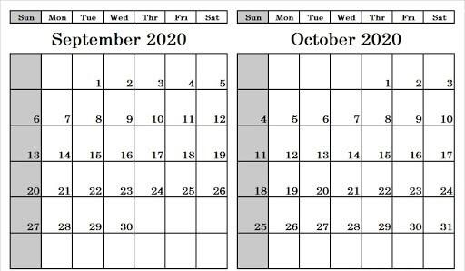 Blank September October 2020 Calendar Template