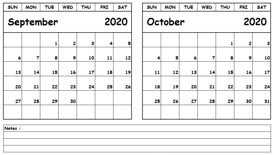 Calendar September October 2020