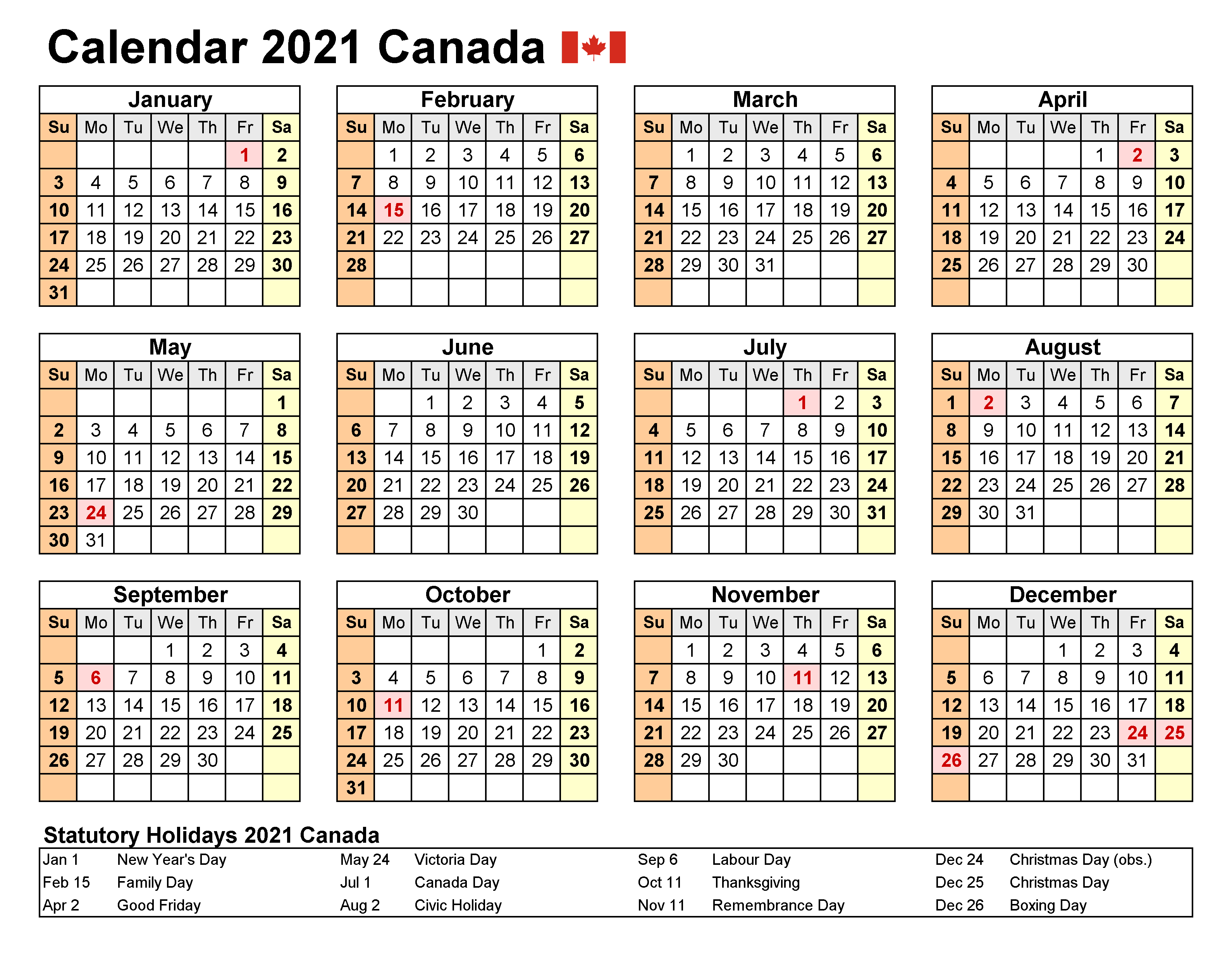 Canada Calendar 2021 with Holidays