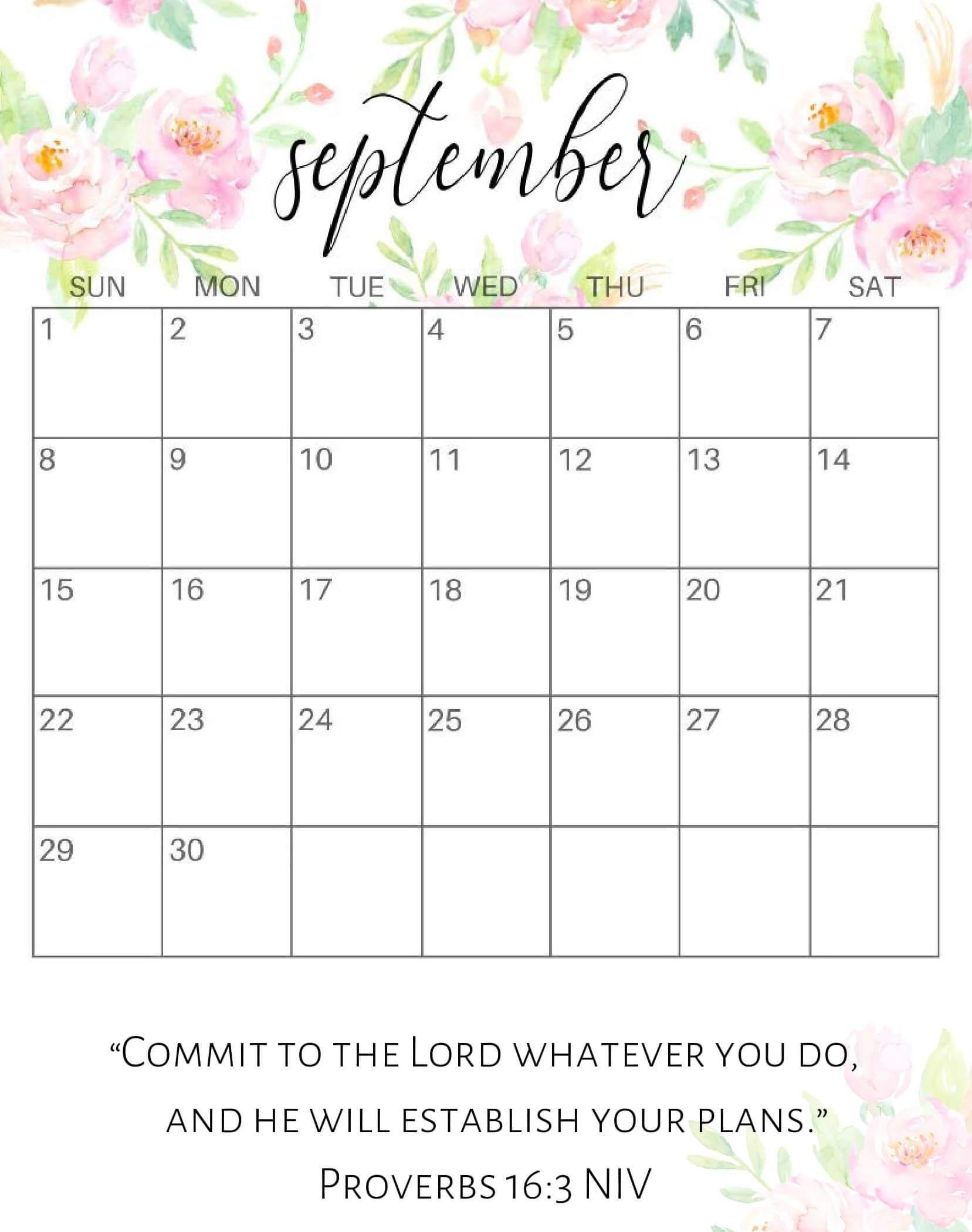 Cute September 2019 Calendar Word