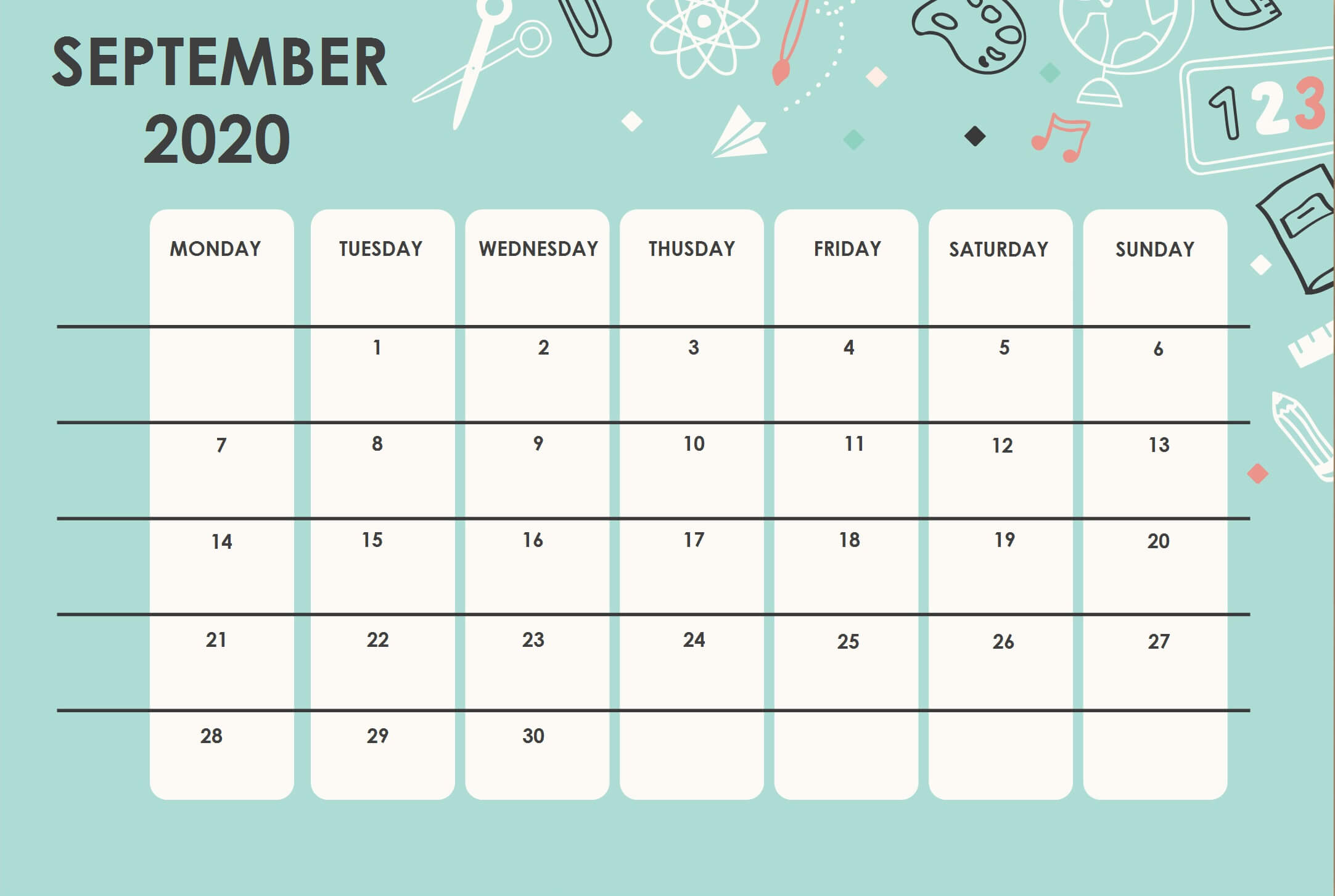 Cute September 2020 Floral Calendar