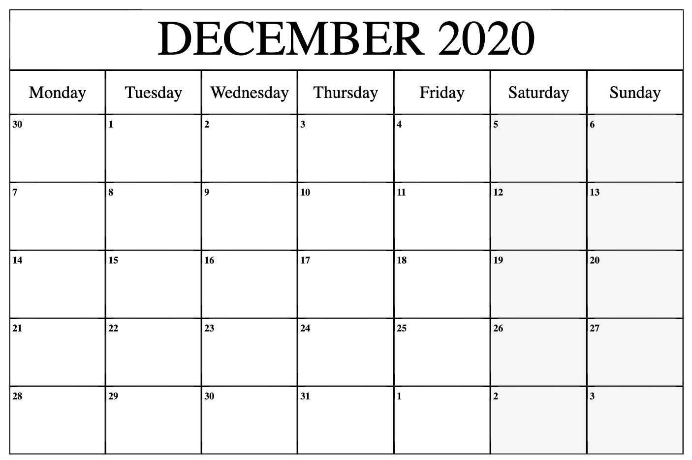 December 2020 Calendar Printable Monday