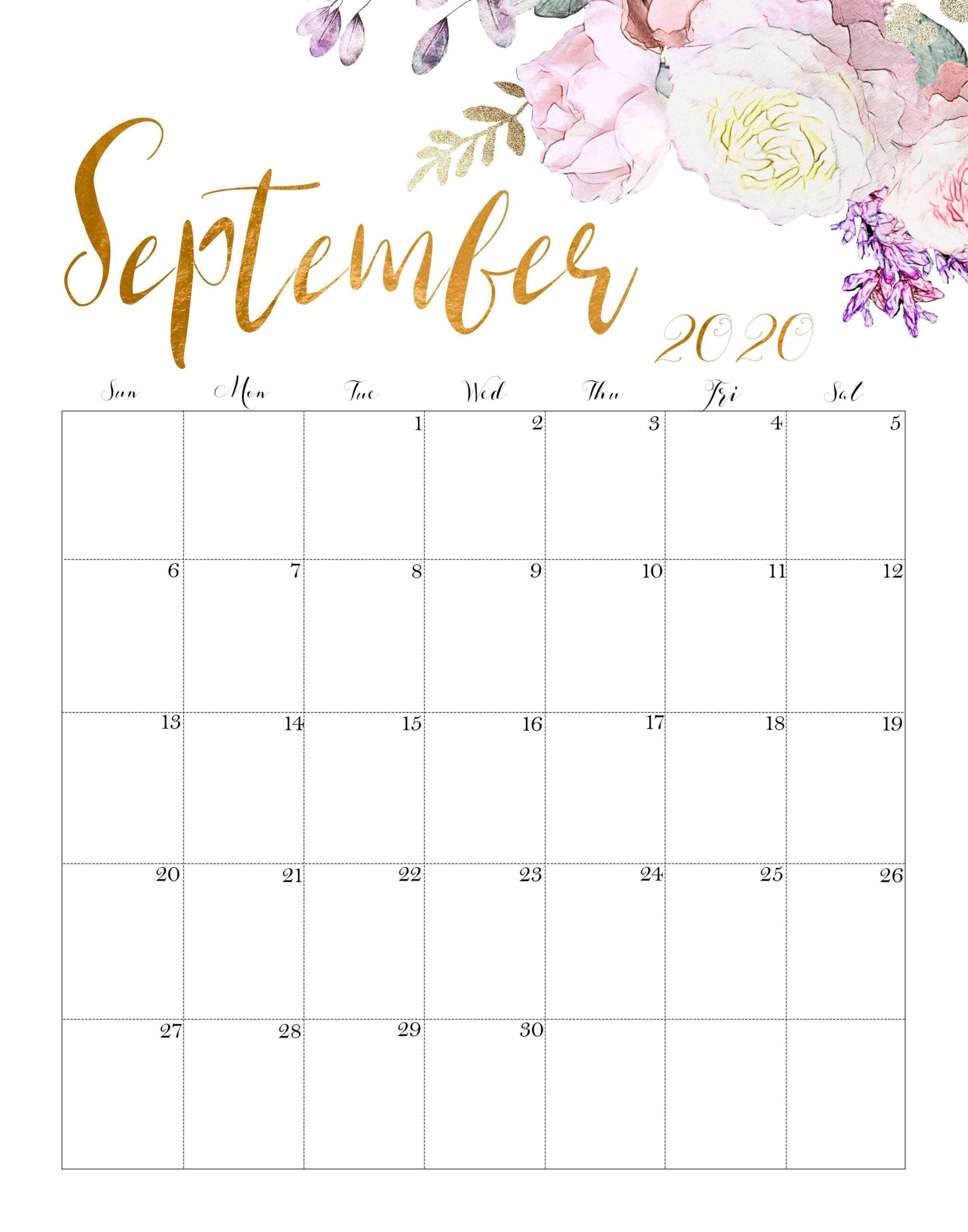 Decorative September 2020 Floral Calendar