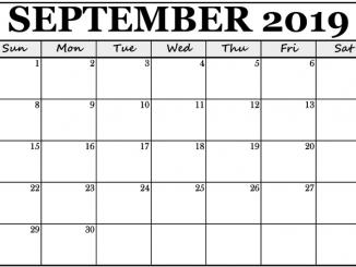 Editable September 2019 Calendar Template
