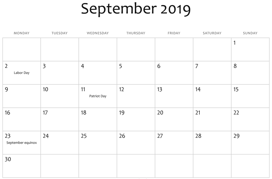 Editable September 2019 Calendar Template Excel