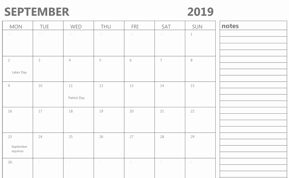 Editable September 2019 Calendar With Notes