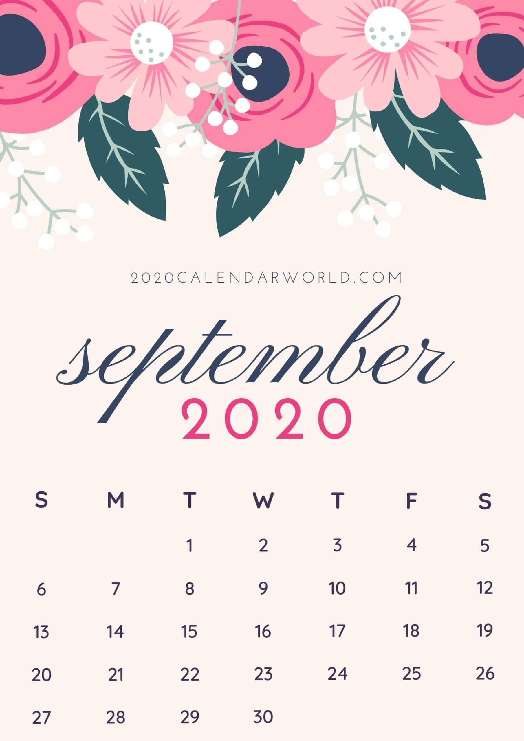 Floral September 2020 Desktop Calendar Wallpaper