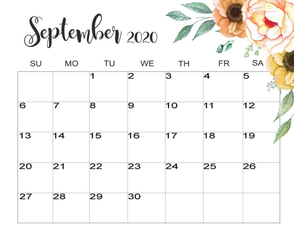 Floral September 2020 Wall Calendar