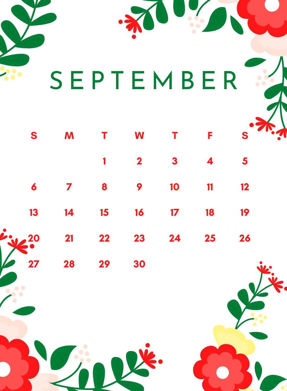 Floral September 2020 iPhone Calendar Wallpaper