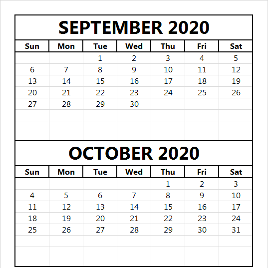 Free September October 2020 Calendar Blank
