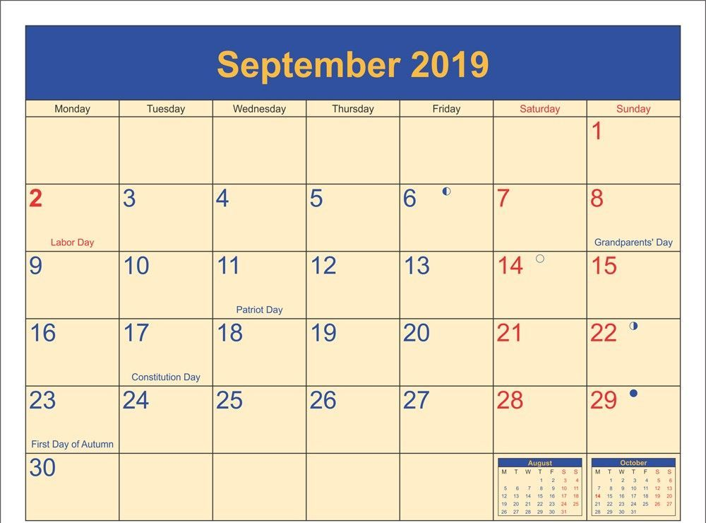Full Moon Calendar for September 2019