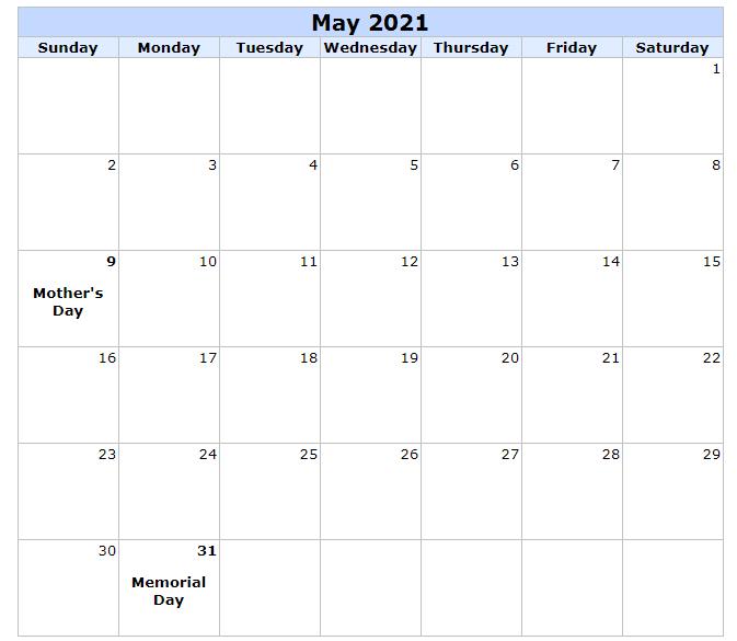 May 2021 Printable Calendar