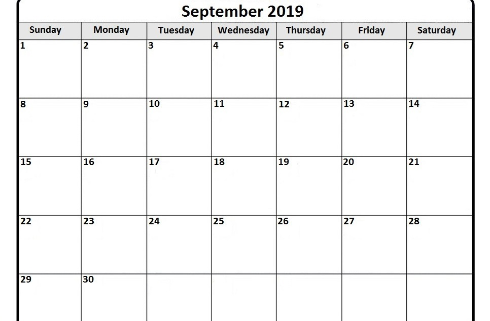 Moon Phases Calendar for September 2019 Printable