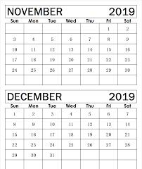 November December 2019 Calendar Blank Template