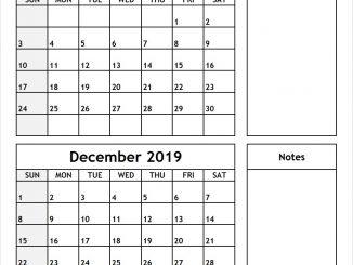 November December 2019 Calendar with Notes