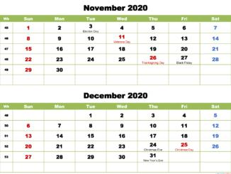 November December 2020 Calendar with Holidays