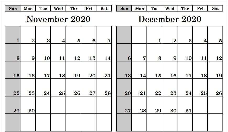 Print November December Calendar 2020