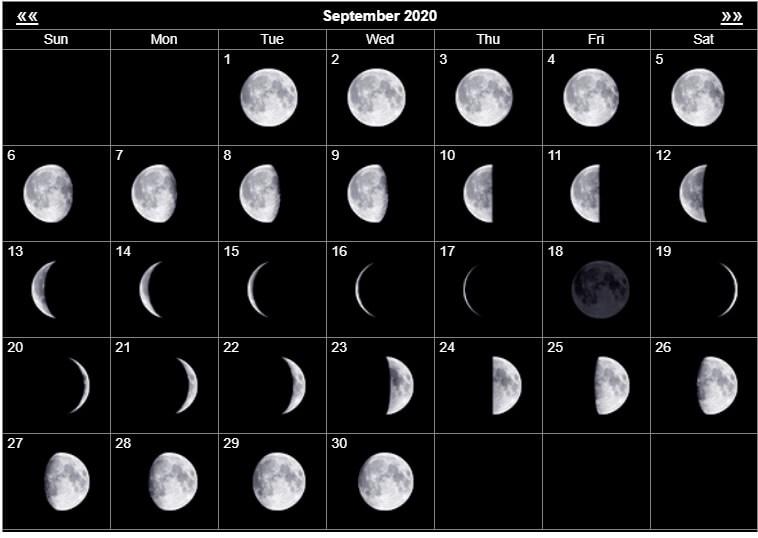 Print September 2020 Moon Calendar