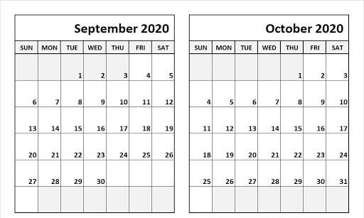 Print September October 2020 Calendar