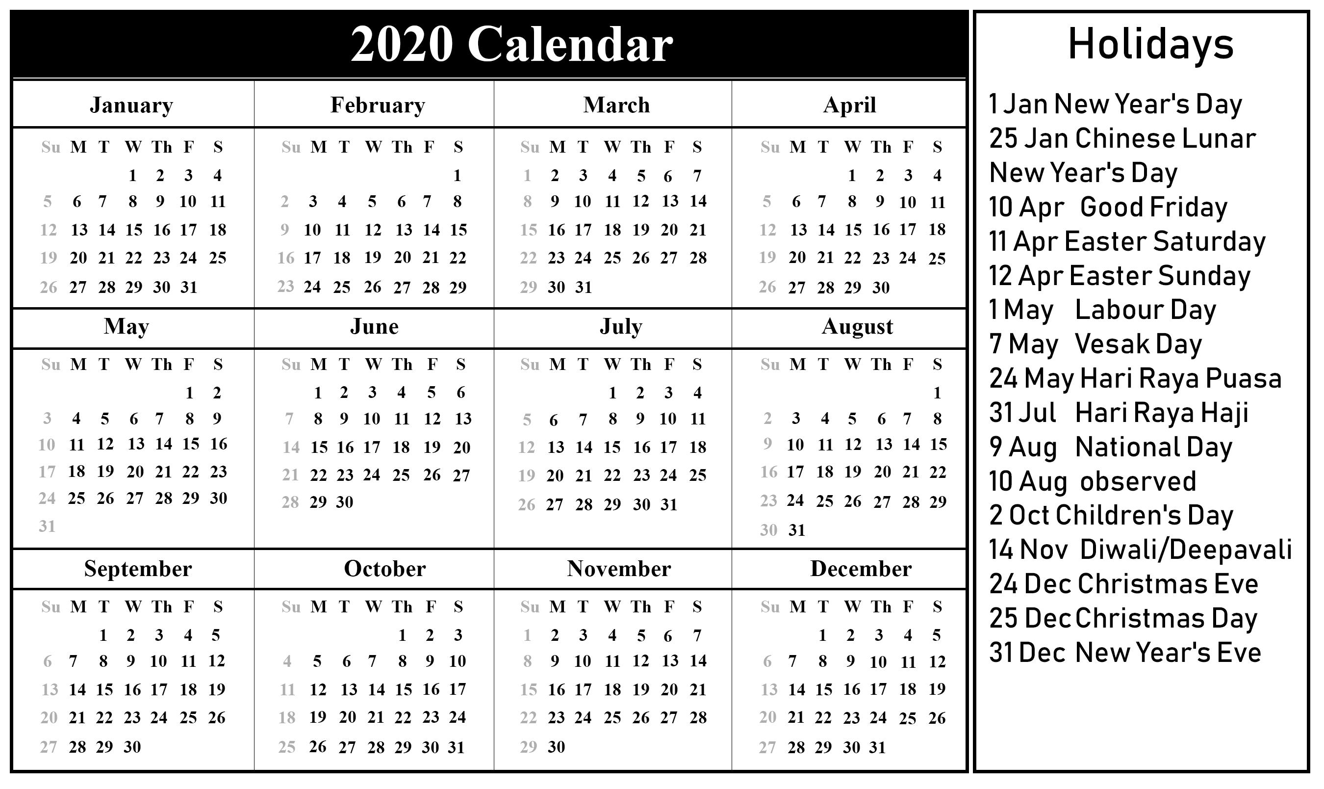 Printable 2020 Calendar with Holidays