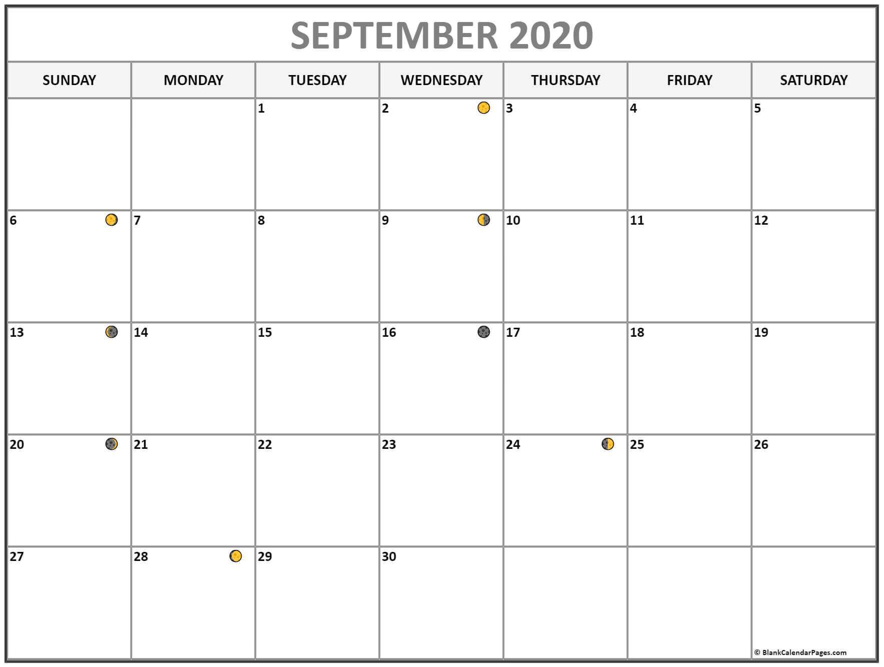 Printable September 2020 Moon Calendar