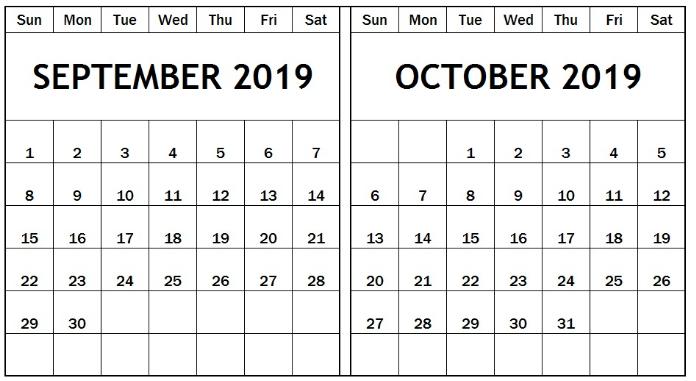 Printable September October 2019 Calendar