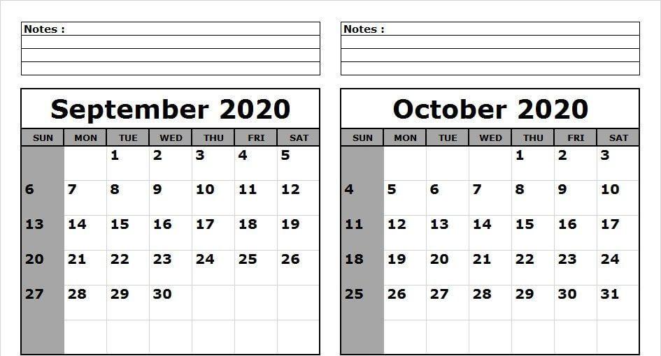 Printable September October 2020 Calendar