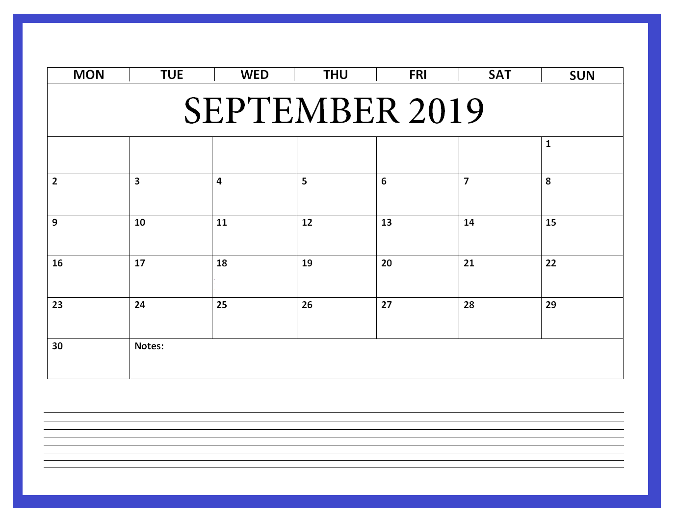 September 2019 Calendar Printable Blank Template