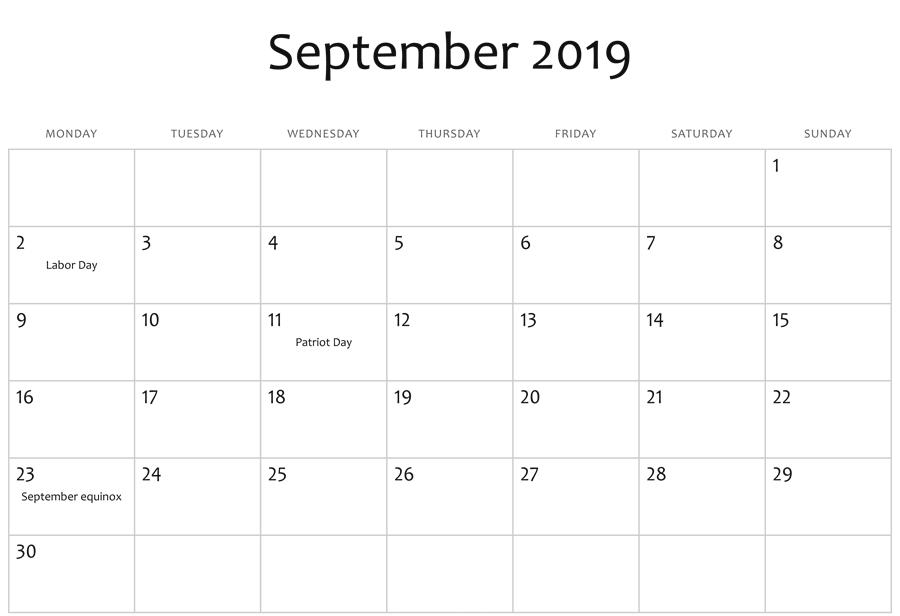 September 2019 Editable Calendar Moon Phases