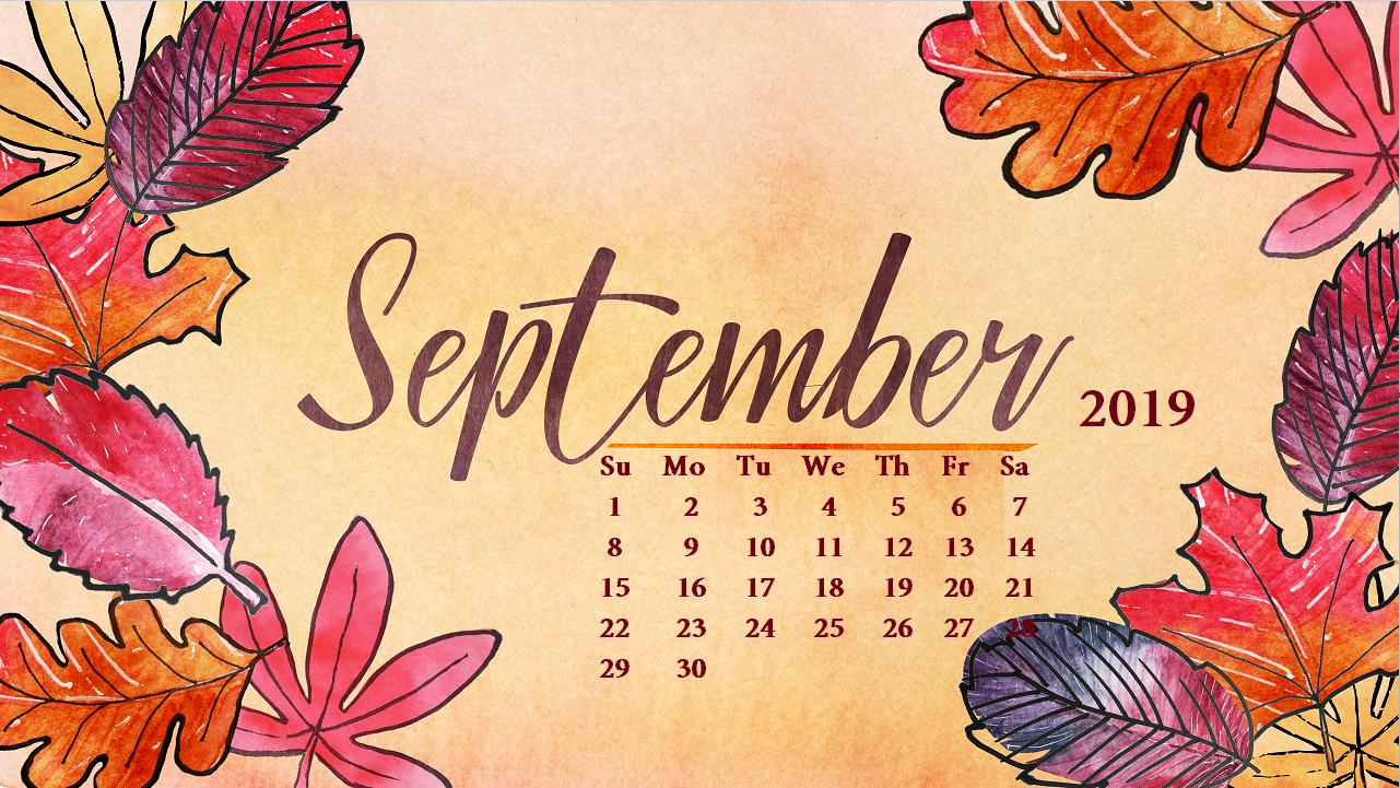 September 2019 Floral Calendar Cute