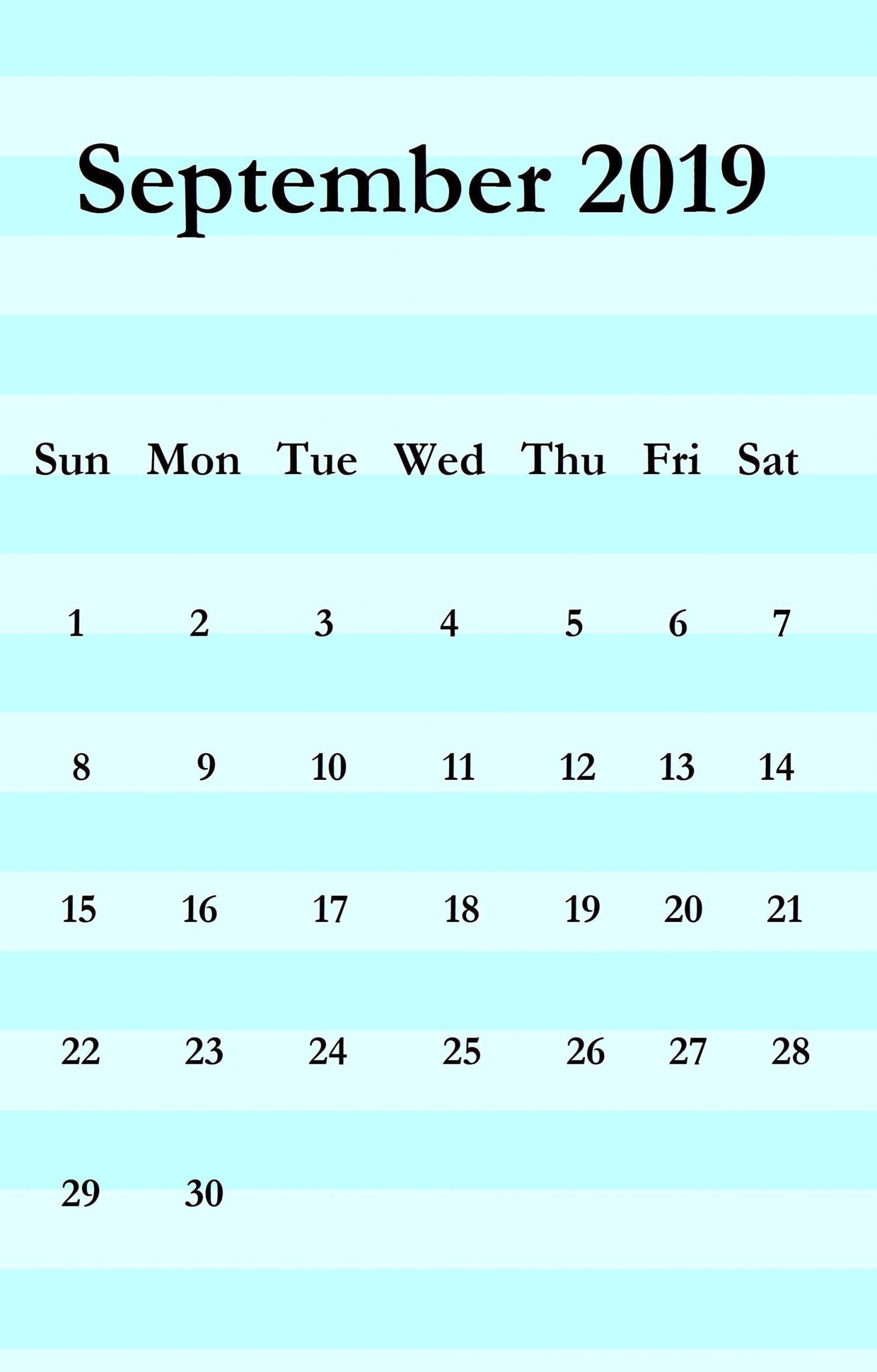September 2019 iPhone Calendar