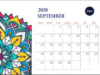 September 2020 Floral Desk Calendar