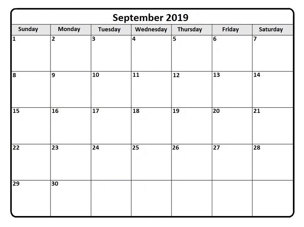September Calendar 2019 Blank