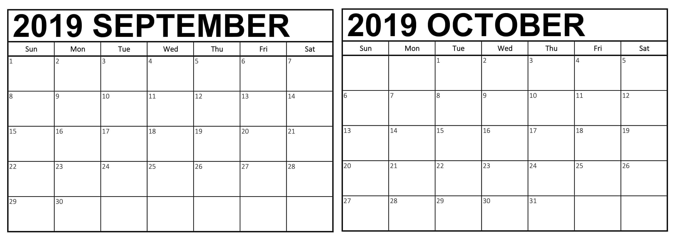September October 2019 Calendar PDF