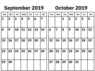 September October 2019 Calendar Template