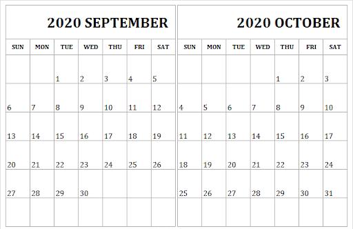 September October 2020 Calendar A4 Template