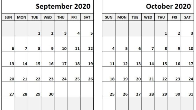 September October 2020 Calendar Printable