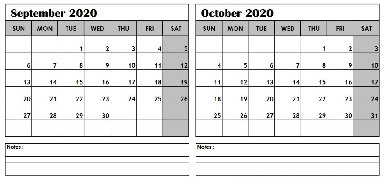 September October 2020 Calendar with Note Section