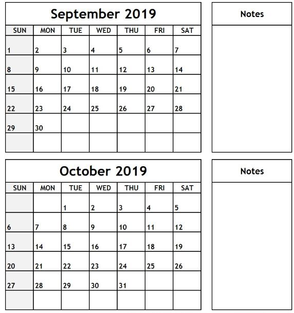 September October Calendar 2019 with Notes