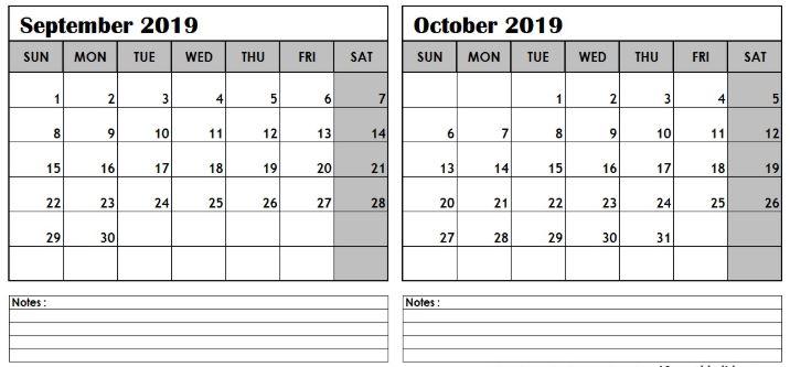 September and October 2019 Calendar Template