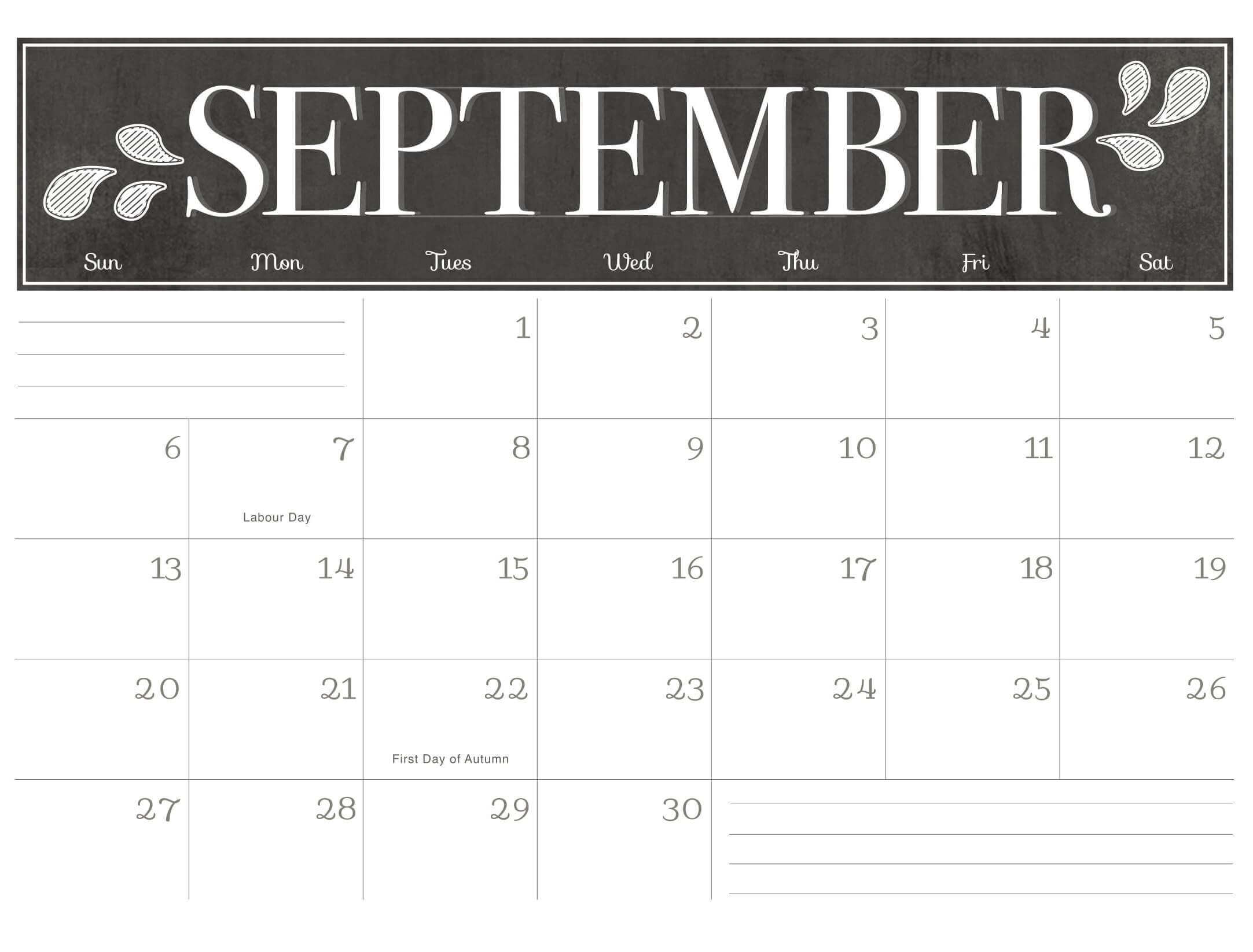 2020 September Calendar with Holidays