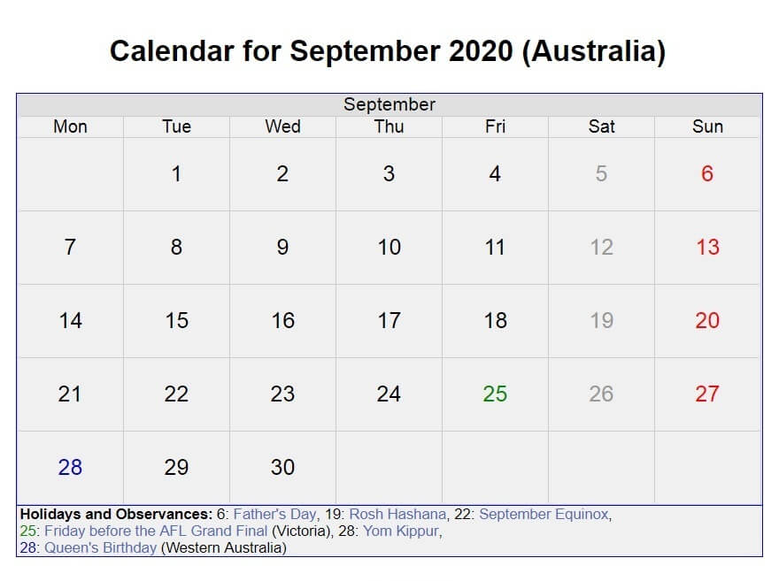 Australia Holidays Calendar September 2020