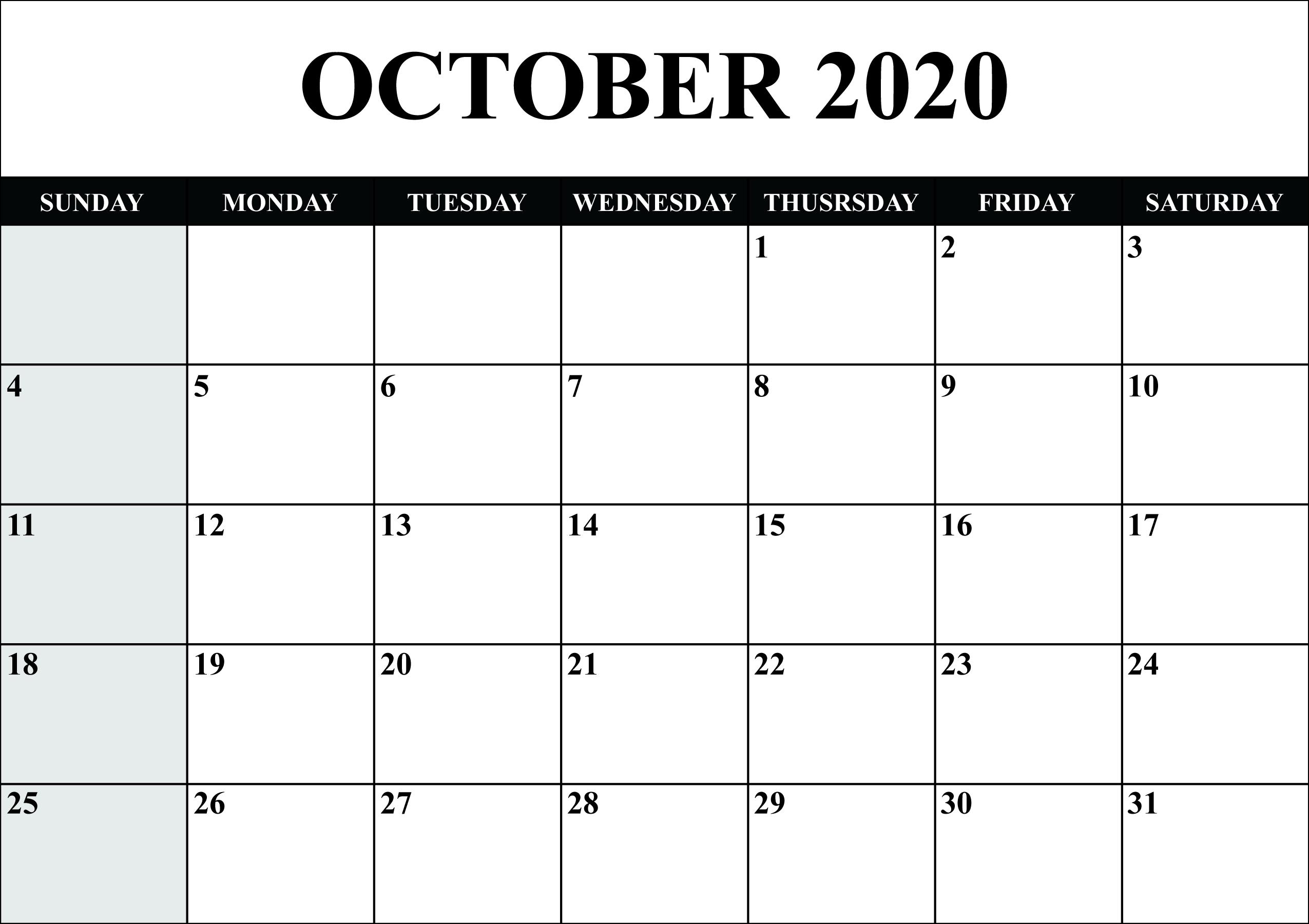 Blank Calendar October 2020 Printable