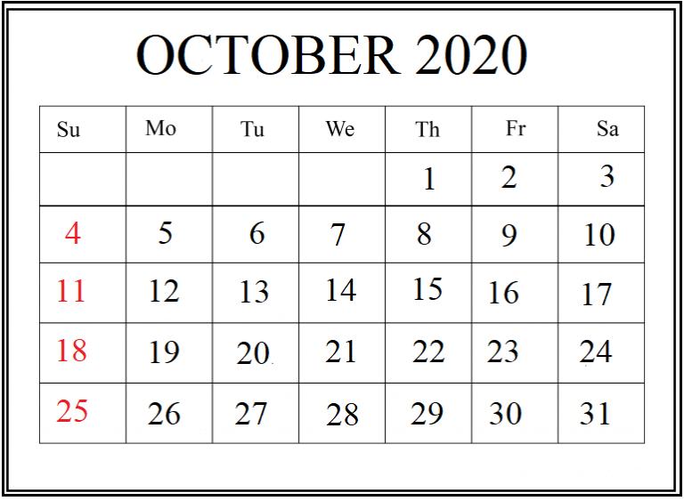 Blank Calendar for October 2020