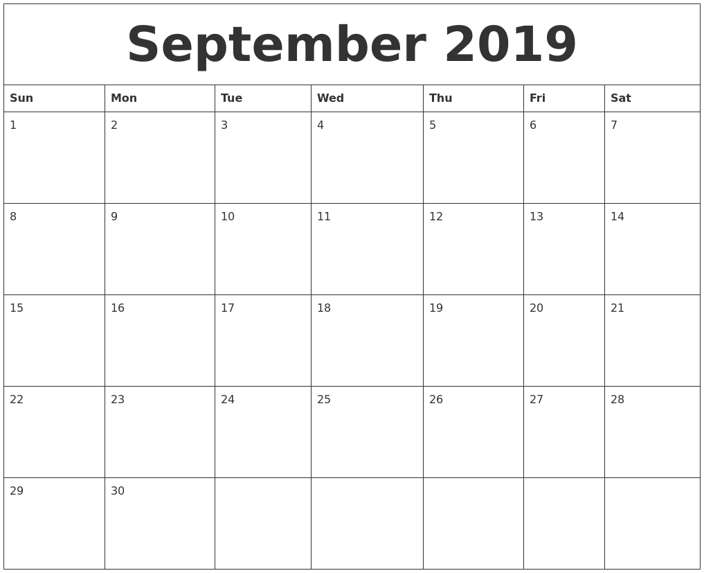 Blank Calendar for September 2019 Word