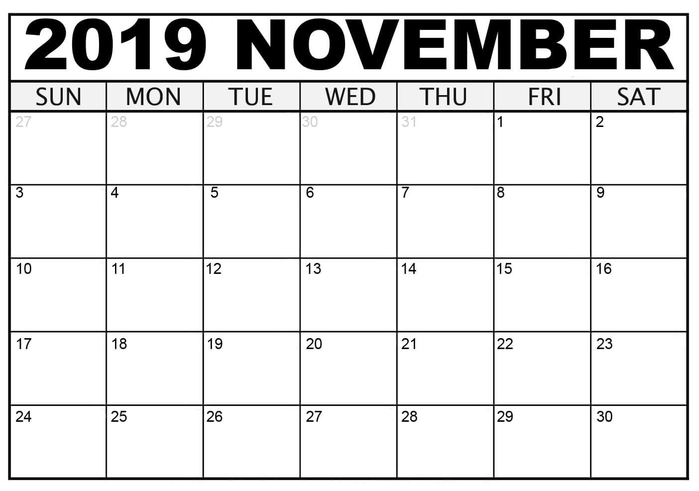 Blank November 2019 Calendar Excel Template